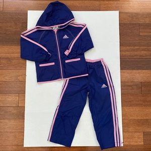 Adidas Blue & Pink Long Sleeve Jacket & Pants Set